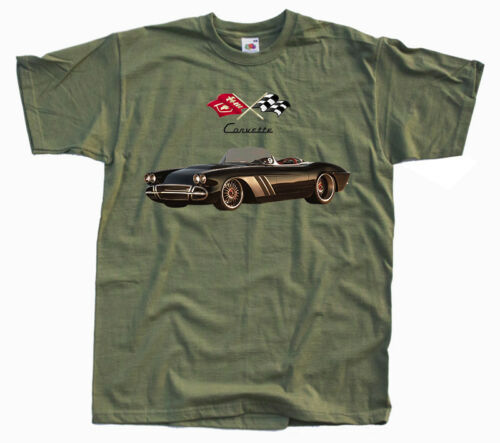 T-Shirt car poster Chevy Corvette All sizes S-5XL 1962 WHITE,YELLOW,OLIVE,