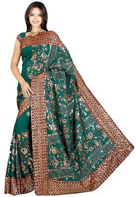VERT Indien Sari Saree Ventre Danse ROBE KAFTAN Stoff