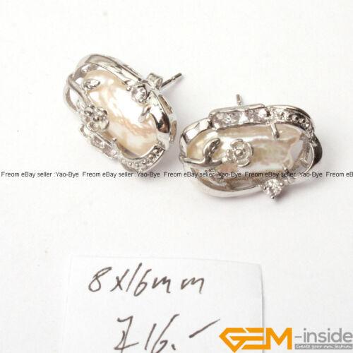 Natural Biwa Freshwater Pearl Stud Earrings White Gold Plated Base Jewelry Gift