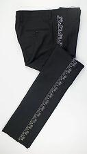 New. SAINT LAURENT PARIS Black Wool W/ Metal Beads Casual Pants Size 48/32 $2750