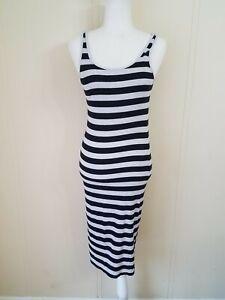 2268f512cf8 Details about Divided H&M Sleeveless Midi dress Medium black gray Striped  41