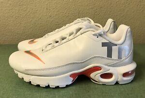 Details about Nike Air Max Plus TN SE Big Logo GS White Orange Youth Sz 6Y Women's Sz 7.5 NEW