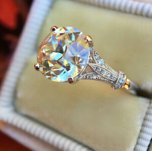 18K WHITE GOLD FILLED LARGE ROUND CUT WHITE SOLITAIRE TOPAZ RING SIZE L 1/2