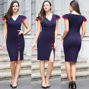 Women-Elegant-V-neck-Business-Office-Work-Formal-Bodycon-High-Waist-Sheath-Dress