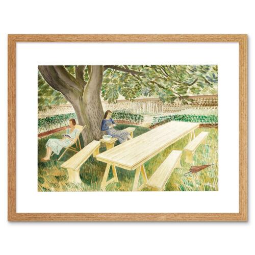 Eric Ravilious dos mujeres en un jardín 12x16 pulgadas impresión arte enmarcado