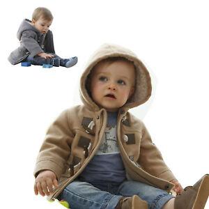 Baby Boy Toddler Fashion Fleece Hooded Coat Horn Button Outerwear Jacket Clothes