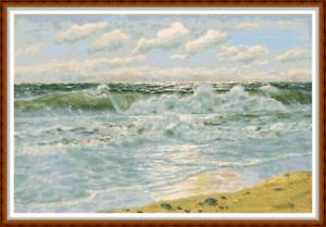 """""""écume De Mer"""" Cross Stitch Pattern 19""""x13"""" Paysage Marin/vagues/ocean/détaillé Neuf-/ocean/detailed New Fr-fr Afficher Le Titre D'origine Approvisionnement Suffisant"""