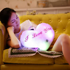 Heart Style Glowing LED Pillow 7 Color Changing Light Up Soft Cosy Relax Cushion