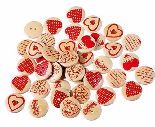Sewing 50 Shabby Chic Crafting HEARTS 20mm Wood Scrapbooking