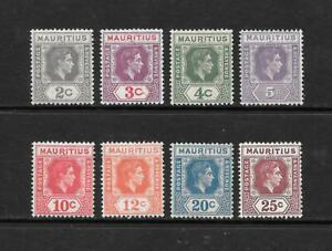1938-King-George-VI-SG252-to-SG259-set-of-8-stamps-Mint-Hinged-MAURITIUS