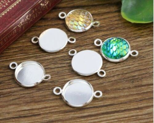 12mm 50pcs High Quality Silver Pendant Blank Plate Cameo Setting 2 holes