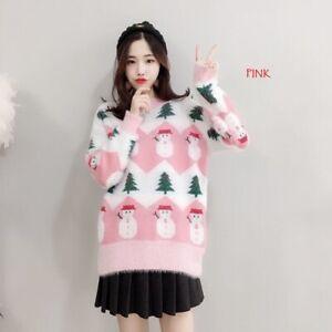 Women-039-s-fashion-Christmas-snowman-faux-mink-fluff-winter-sweater-KREDT95305