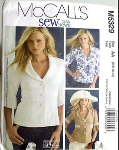 Lined-Jacket-Button-Front-Blouse-Top-Sewing-Pattern-M5329-Size-10-McCalls
