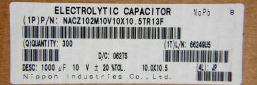 24pcs Nippon SMD Electrolytic Capacitor 1000uF 10v 105C
