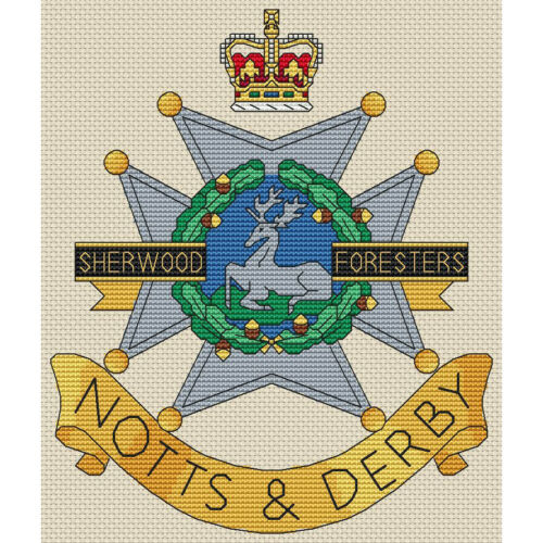 Sherwood Foresters Badge Cross Stitch Design kit or chart