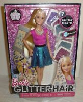 Sealed - 2014 Glitter Hair Barbie Doll - Mattel - Includes 7 Glitter Sheets