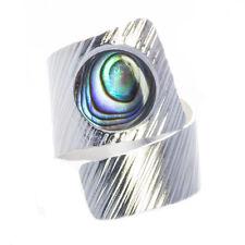 925 Silber Ring breit mit Abalone Paua Muschel verstellbar Bella Carina F007