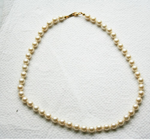 """Perlenkette /""""Muschelkernperle oder Mallorca Perle/"""" weiss-creme 8 mm 45 cm"""