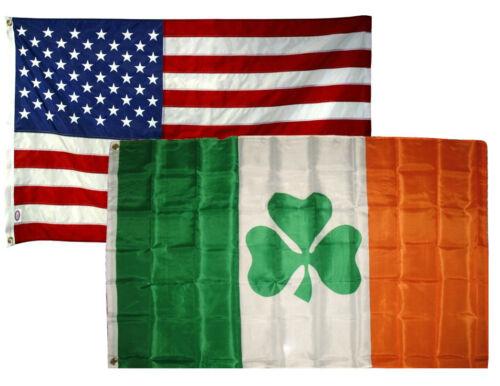 3x5 3/'x5/' Wholesale Combo Set USA American /& Shamrock Ireland Irish Flags Flag