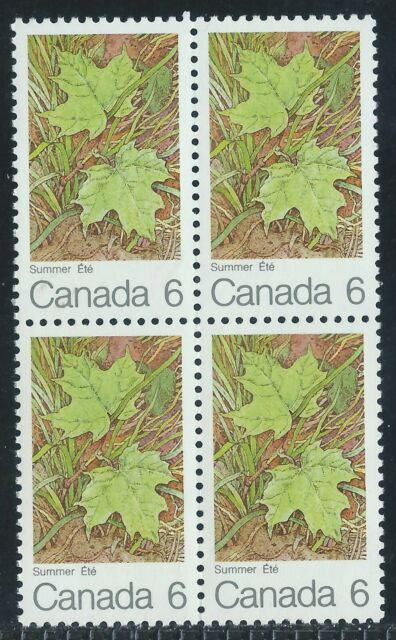 Canada #536(1) 1971 6 cent MAPLE LEAVES - SUMMER BLOCK OF 4 MNH