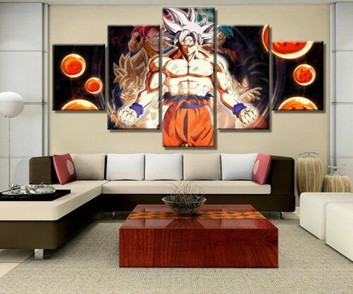 Dragon Ball Super Saiyan Goku 5 Piece Canvas Wall Art Poster Print Home Decor