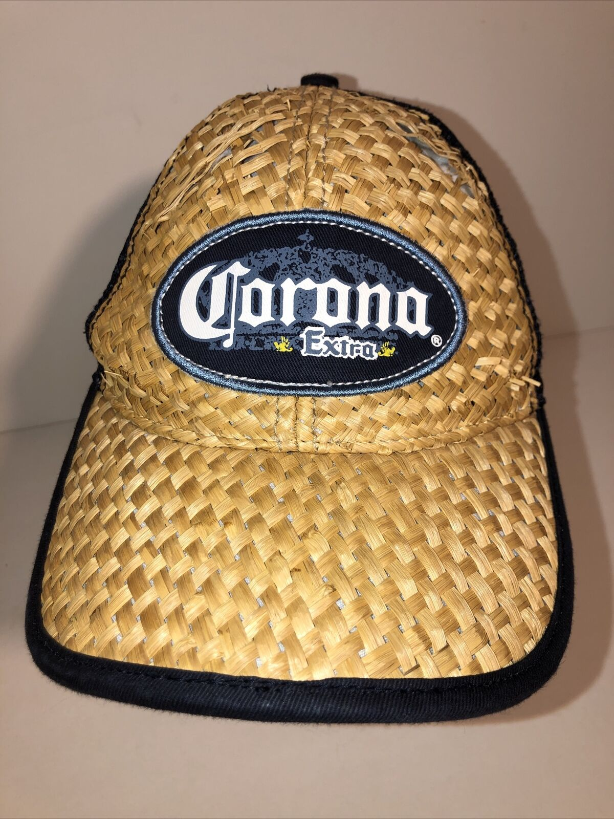 Vintage Corona Extra Beer Straw Woven Beach Cap H… - image 5