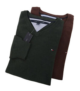 Tommy-Hilfiger-Men-039-s-Long-Sleeve-V-Neck-Solid-Sweater-0-Free-Ship