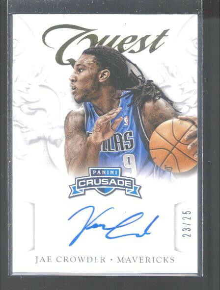 2012-13 PANINI CRUSADES JAE CROWDER GOLD AUTOGRAPH 23/25 DALLAS MAVERICKS - MINT