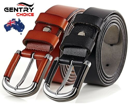 Men/'s 100/% Genuine Leather Suiting Casual Alloy Pin Buckle Brown Black Soft Belt