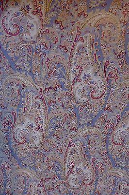 Motif Vintage Wallpaper Paisley Print Linen Blue Classic Damask