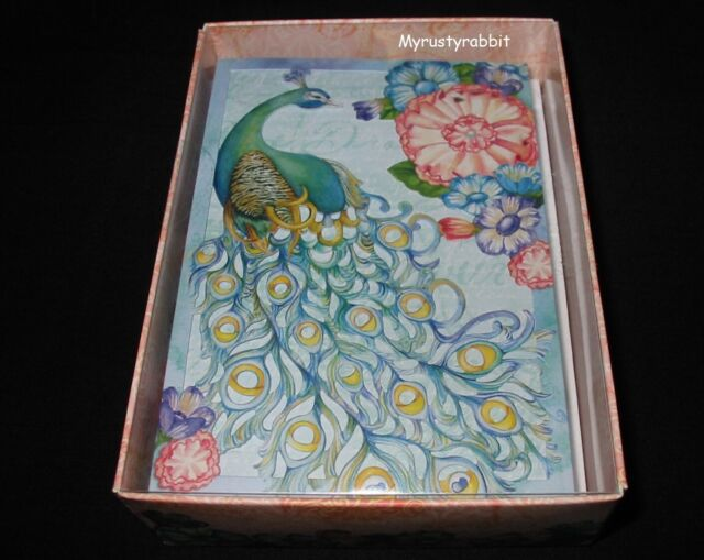 Punch Studio SET 4 GORGEOUS Blank Note Card Peacock Floral Glitter Embellish Lot