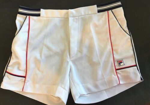 FILA Vintage Men's White w/ Blue Red Tennis Shorts