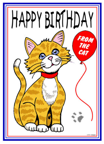 from the cat happy birthday card cartoon ginger cat free