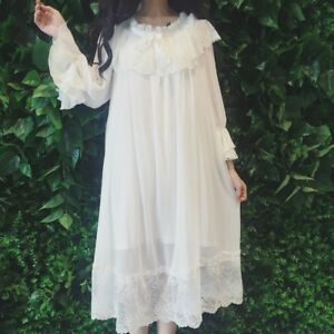 buy online c334d 705ee Details zu Damen Mädchen Lolita Viktorianisch Vintage Nachthemd Rüsche  Spitze Nachtwäsche