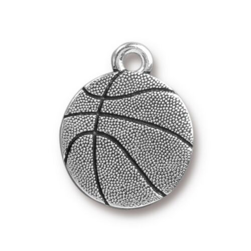 TierraCast Basketball Charm Antiqued Silver Plated Pewter T272