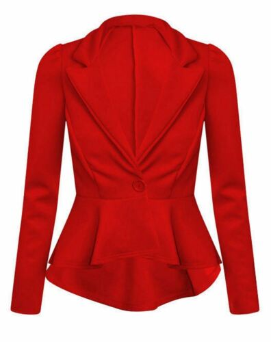 New Women's Ladies Slim Fit Peplum Button Blazer Jacket Coat Size 8-26