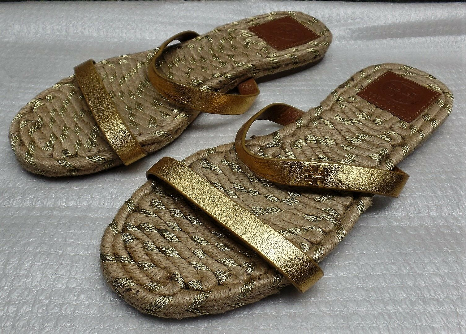 Tory Burch Metallic Leather Espadrille Slide Sandals -  125