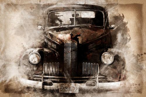 Superbe Antique Grunge Classique Voiture Toile #86 A1 A3 Photo sur toile Wall Art