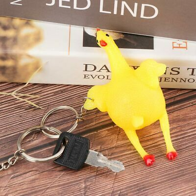 Novelty Funny Toy Vent Chicken Whole Egg Laying Hens Crowded Stress Ball Keyring