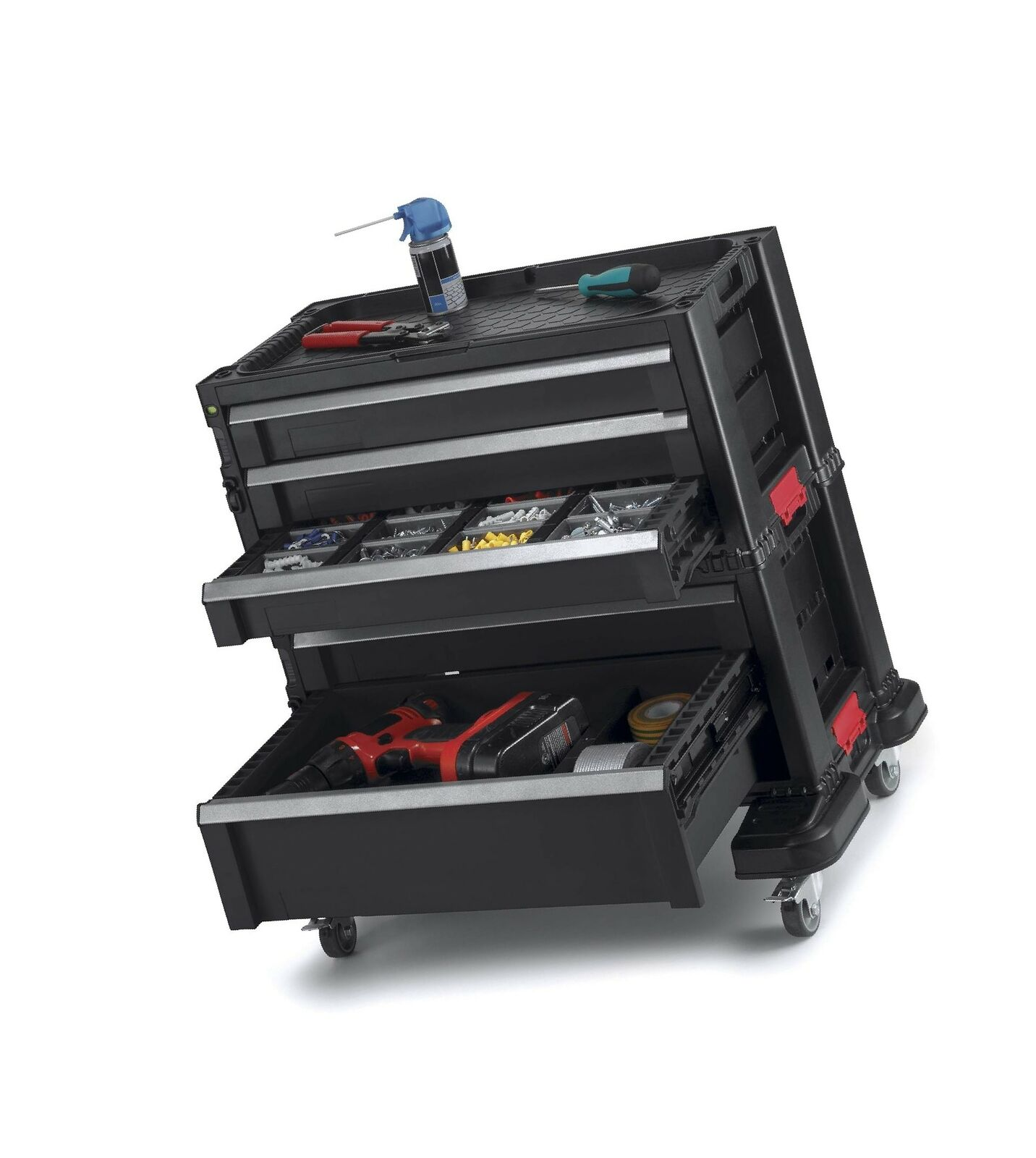 Keter Rolling Tool Chest with Storage Drawers, Locking System and 16 Removabl...