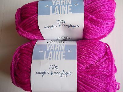 Hot Pink neon Needle Crafters acrylic yarn 115 yds ea lot of 2
