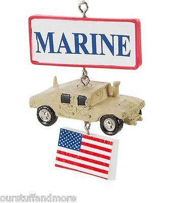 MARINES Military Heart with Dog Tag YEAR-ROUND Midwest-CBK Holiday Ornament//U.S