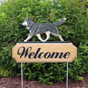 Siberian Husky Dog Breed Oak Wood Welcome Outdoor Yard Sign Grey/White