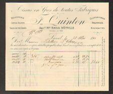 """LAVAL (53) TISSUS DRAPERIES """"Emile DETOLLE / F. QUINTON Succ"""" en 1911"""