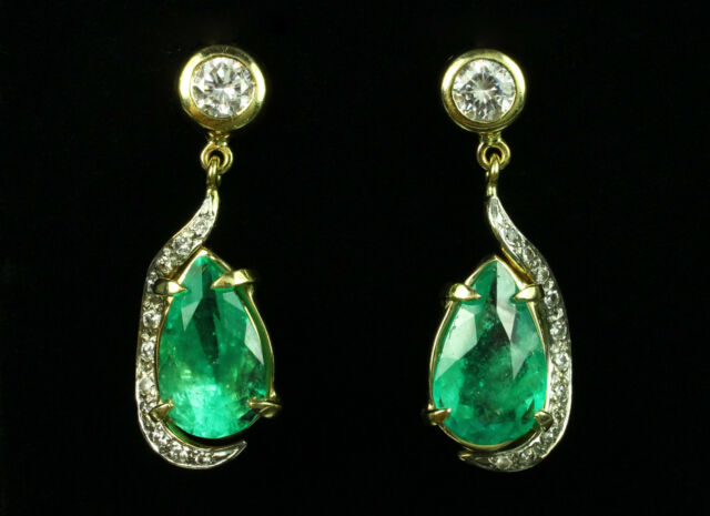 Decadent! 12.70tcw Colombian Emerald Pear & Diamond Dangle Earrings 14k