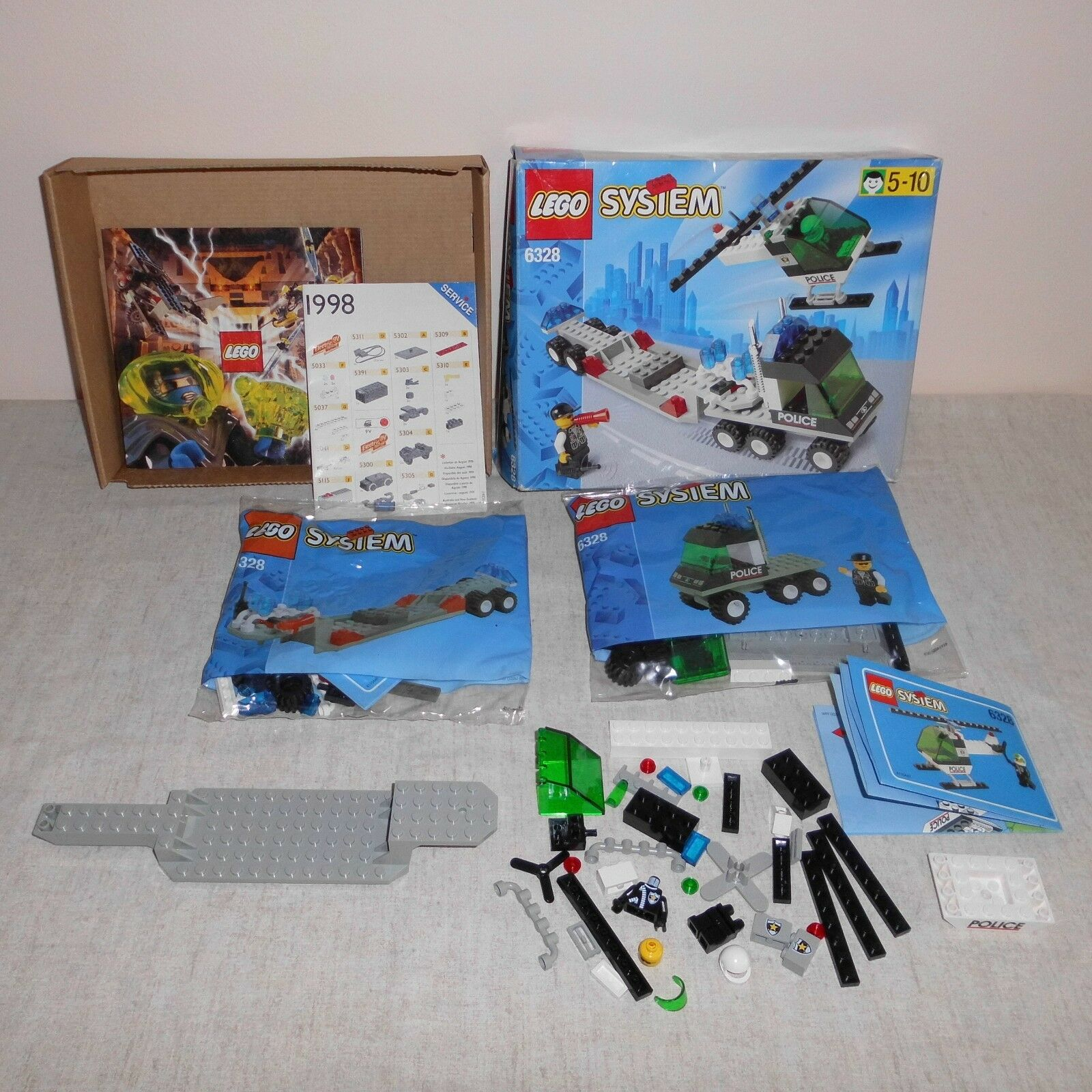Lego 6328 Police Helicopter Transport. Boxed. 2 Bags Still Sealed. 20 Years Old