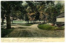 Purdys NY - FORK IN THE ROAD SCENE - Handcolored Postcard Westchester County