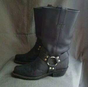 600bf0d7e05 Details about Women's Black Leather FRYE 77300 12R Harness Biker Boots Size  8 Made in USA