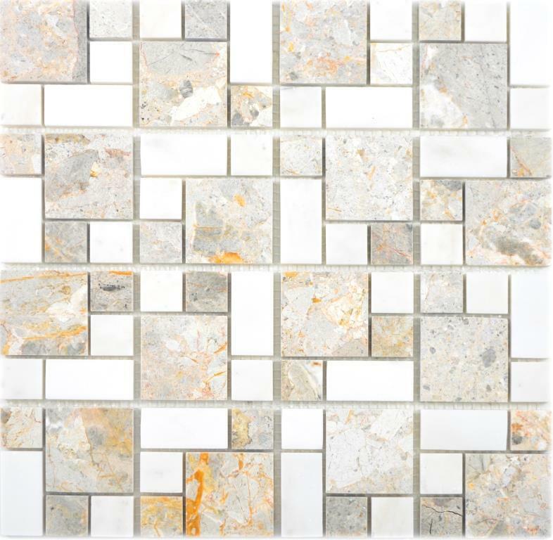 Marmor Mosaik Stein grau weiss Wand Boden Küche Dusche Bad WC   88-0201 10Matten