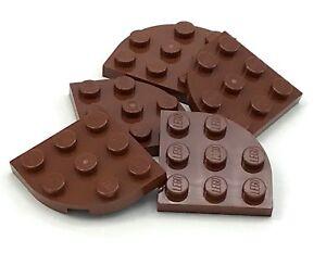 Lego 5 New Reddish Brown Plates Round Corner 3 x 3 Pieces